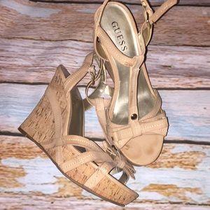 Guess nude straps bow platform cork shoes heels